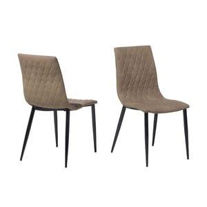 Sada 2 svetlo hnedých jídelních stoličiek z umelej kože Monobeli Emily