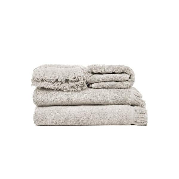 Set 2 svetlosivých bavlnených osušiek a 2 uterákov Casa Di Bassi