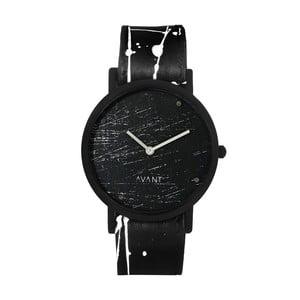 Čierne unisex hodinky s čierno-bielym remienkom South Lane Stockholm Avant Raw