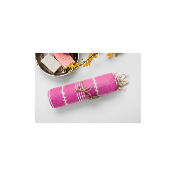 Ružovo-biela hammam osuška Begonville Sabba Pink, 100x180cm