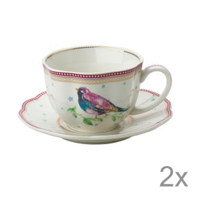 Porcelánová šálka s tanierikom Birdie od Lisbeth Dahl, 2 ks