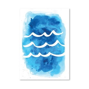 Plagát Watercolor Blue Waves