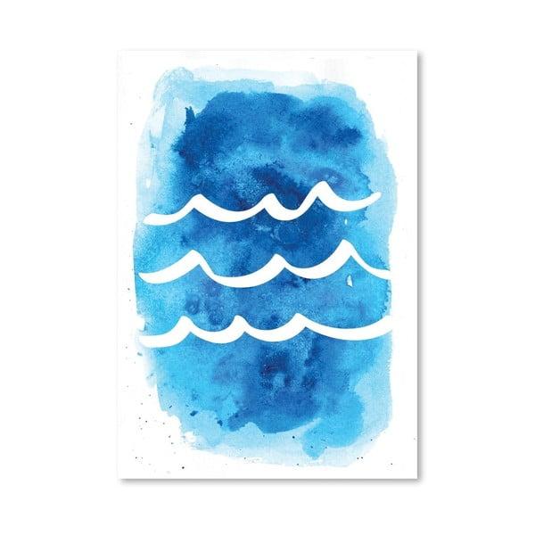 Plagát Watercolor Blue Waves
