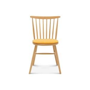 Drevená stolička so žltým polstrovaním Fameg Amleth