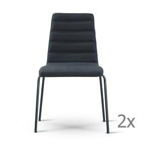 Sada 2 čiernych stoličiek s čiernymi nohami Garageeight