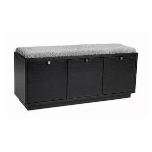 Čierna lavica s úložným priestorom a so sivým sedadlom Folke Confetti, šírka 106 cm