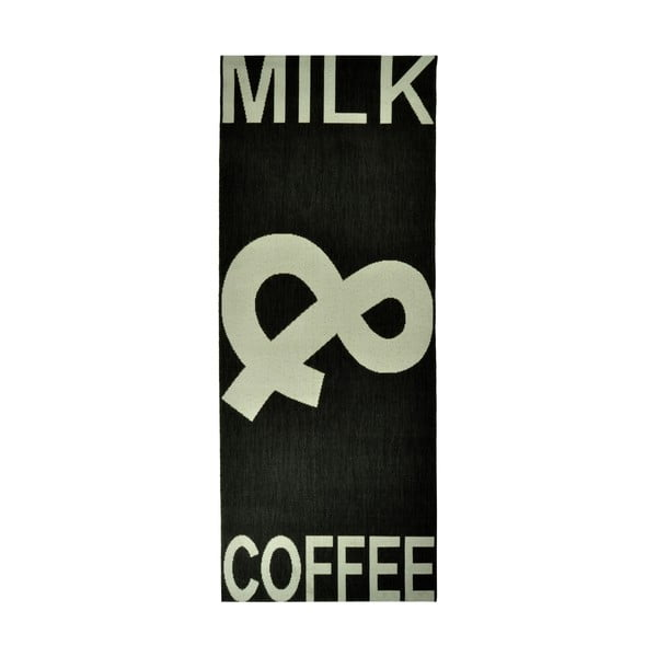 Kuchynský koberec Milk&Coffee 80x200 cm, čierny
