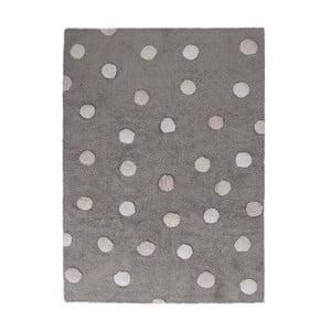 Sivý bavlnený ručne vyrobený koberec s ružovými bodkami Lorena Canals Polka, 120 x 160 cm
