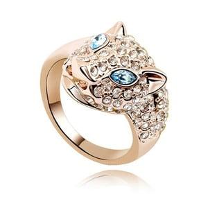 Pozlatený prsteň s modrými krištáľmi Swarovski Fiera, veľkosť 54