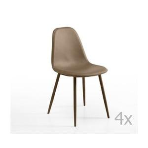 Sada 4 hnedosivých stoličiek Design Twist Jos