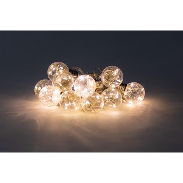 Transparentná svetelná reťaz s LED žiarovkami Luuk, 10 svetielok