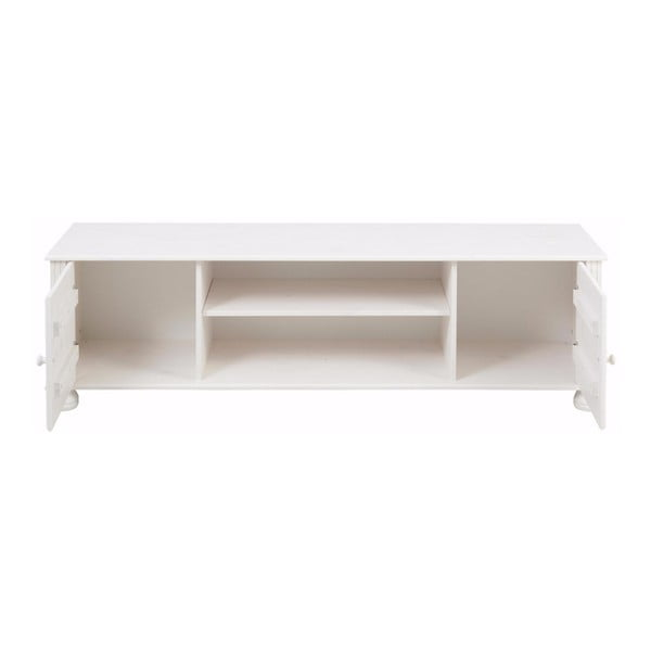 Biely dvojdverový TV stolík z masívneho borovicového dreva Støraa Ella