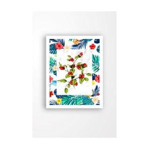 Nástenný obraz na plátne v bielom ráme Tablo Center Rose Hips Blue, 29 × 24 cm