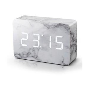 Mramorový budík s bielym LED displejom Gingko Brick Marble Click Clock