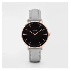 Dámske hodinky so sivým koženým remienkom a detailmi vo farbe ružového zlata Cluse La Bohéme
