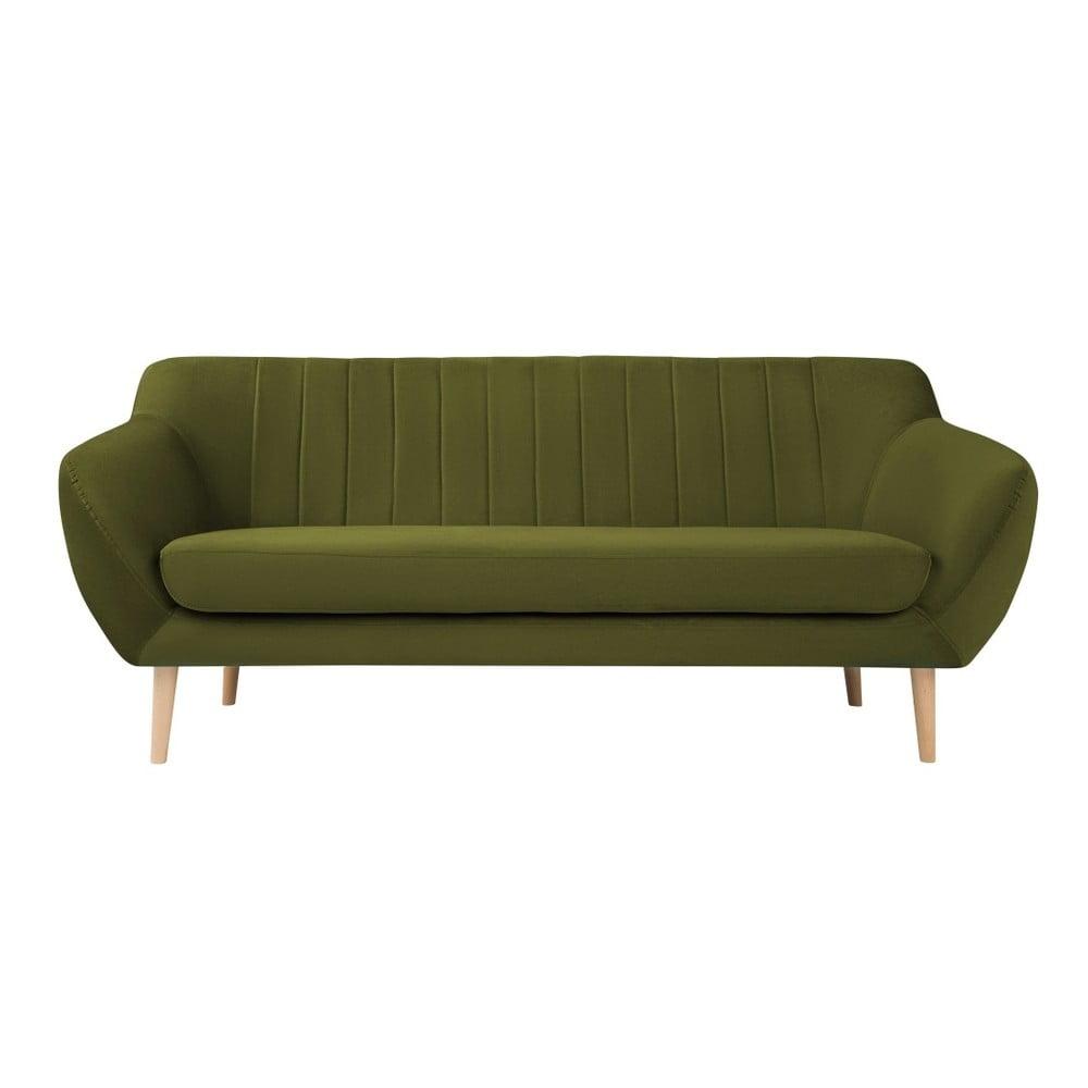 Zelená trojmiestna pohovka so svetlými nohami Mazzini Sofas Sardaigne