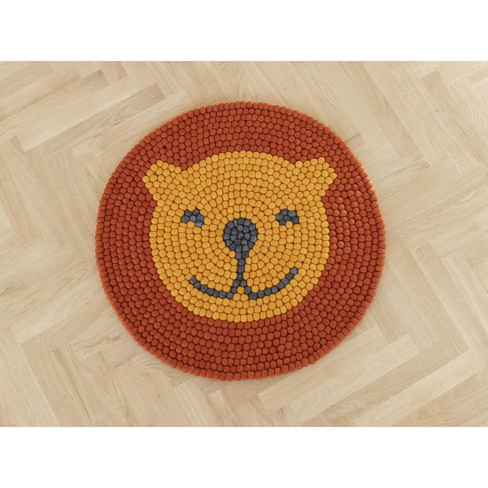 Detský guľôčkový vlnený koberec Wooldot Ball rugs Lion, ⌀ 90 cm