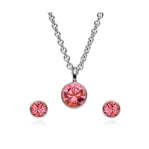 Sada náušníc a náhrdelníku Cut Pink