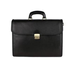 Čierna kožená taška Chicca Borse Paolo