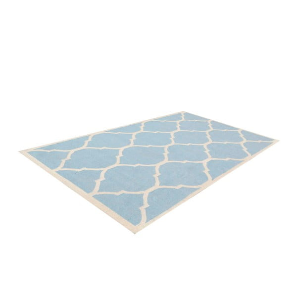 Vlnený koberec Lara, 60x90 cm, svetlomodrý