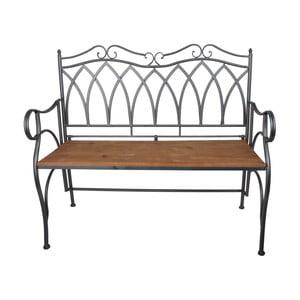 Tmavosivá kovová záhradná lavica s dreveným sedadlom Ewax Wood