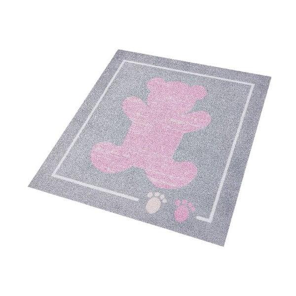 Detský ružový-sivý koberec Zala Living Teddy, 100×100cm