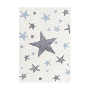 Biely detský koberec so sivými a modrými hviezdami Happy Rugs Stars, 160×230cm