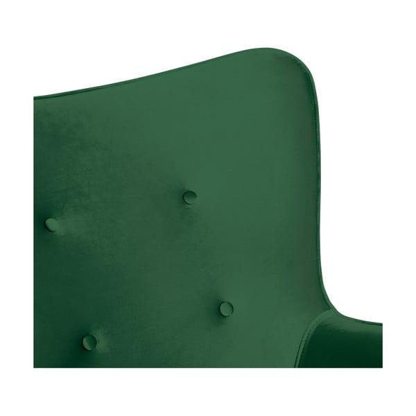 Smaragdovozelené kreslo a podnožka s podnožou v prírodnej farbe Vivonita Cora Velvet
