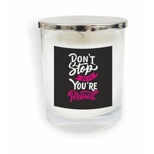 Biela sviečka North Carolina Scandinavian Home Decors Motto Glass Candle V9