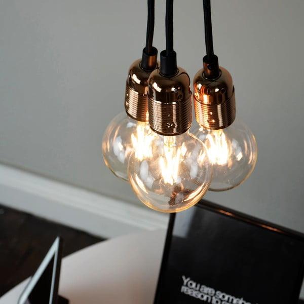 Závesné svietidlo s 3 čiernymi káblami a medenou objímkou Bulb Attack Uno Group