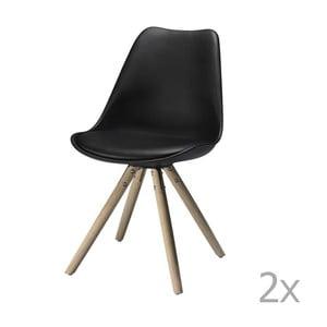 Sada 2 čiernych jedálnych stoličiek Knuds Mille