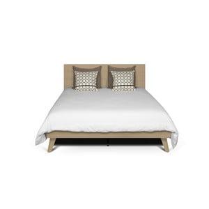 Svetlohnedá posteľ s nohami z masívneho dreva TemaHome Mara, 160 × 200 cm
