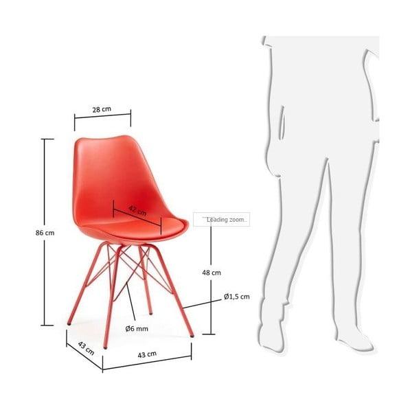 Sada 4 červených stoličiek La Forma Lars