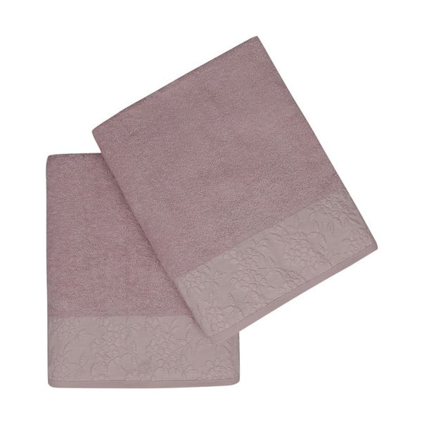 Sada 2 svetlofialových uterákov z čistej bavlny, 90 x 150 cm