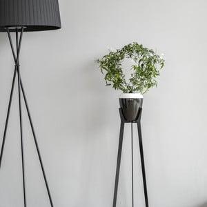 Bielo-čierny samozavlažovací kvetináč Plastia Calimera A1, ø 17 cm