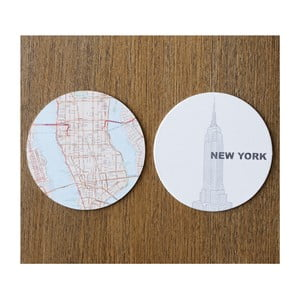 Sada 10 podložiek Design Ideas MapCoasters New York