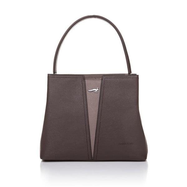 Kožená kabelka Marta Ponti Combination, hnedá/béžová