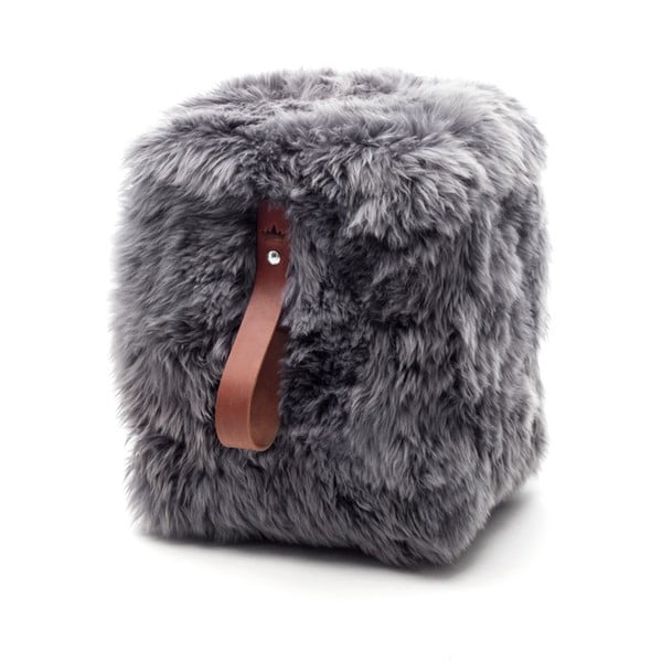 Sivo-hnedý hranatý puf z ovčej vlny Royal Dream