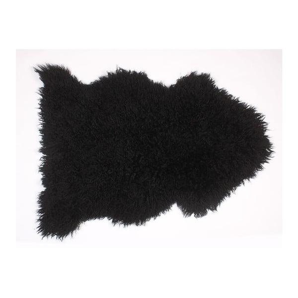 Ovčia kožušina Curly Black, 90 cm