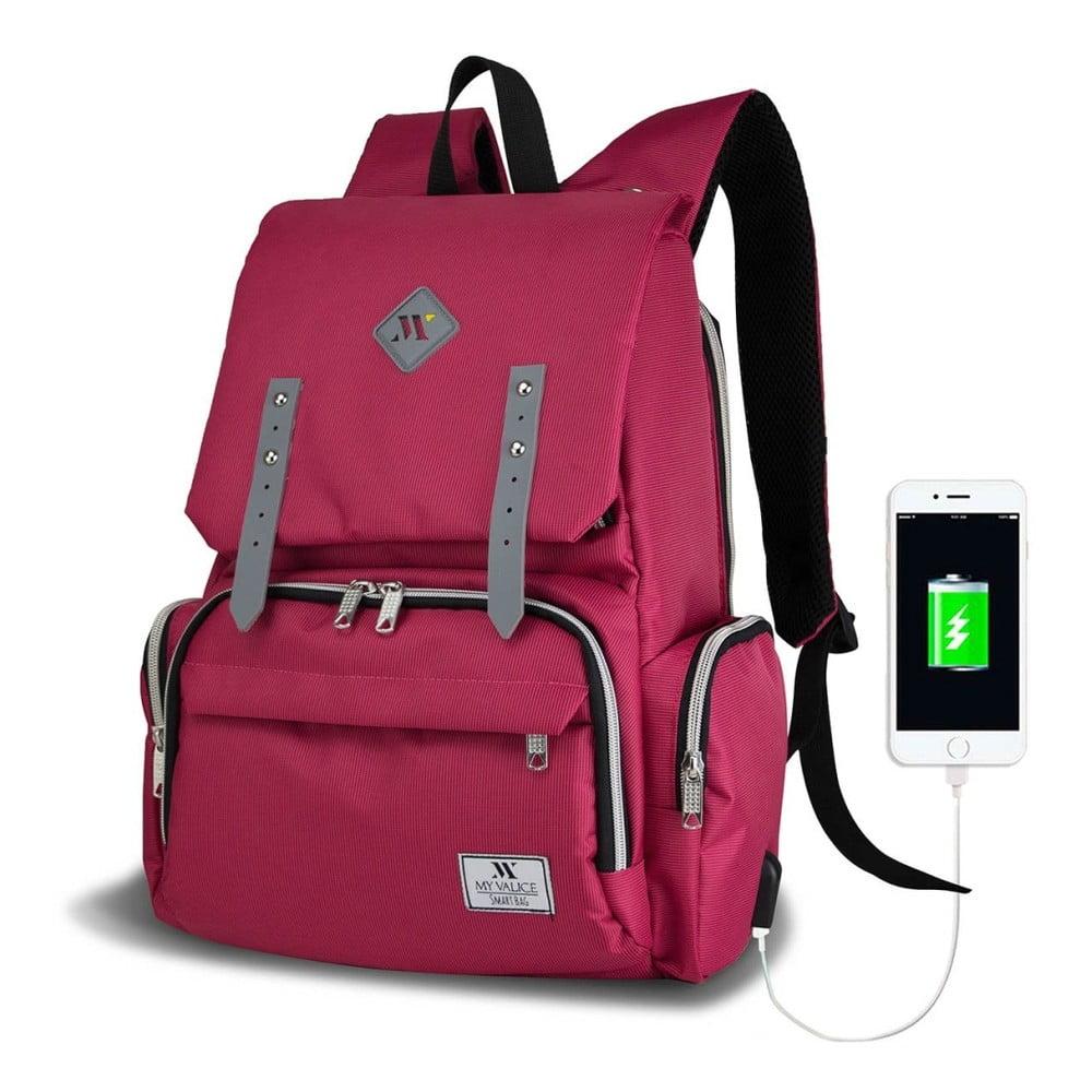 Fuchsiový batoh pre mamičky s USB portom My Valice MOTHER STAR Baby Care Backpack