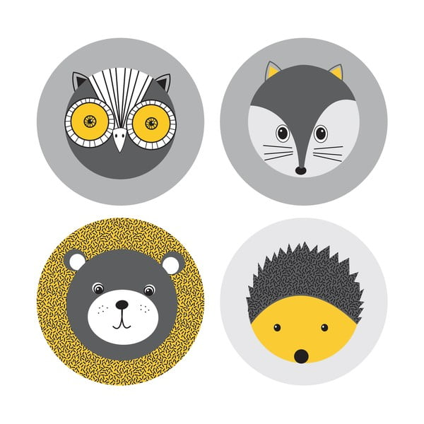 Set 4 podložiek pod pohár Forest Animals