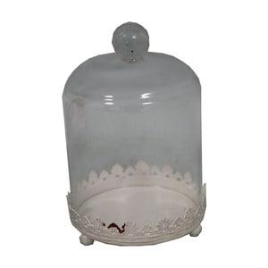 Biely podnos so skleneným poklopom Antic Line Bell, 13x18cm