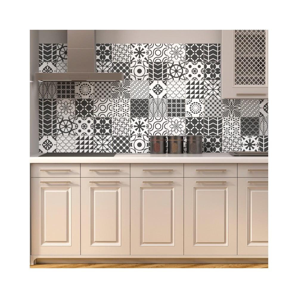 Sada 24 nástenných samolepiek Ambiance Wall Decal Cement Tile Gray Lindos, 10 × 10 cm