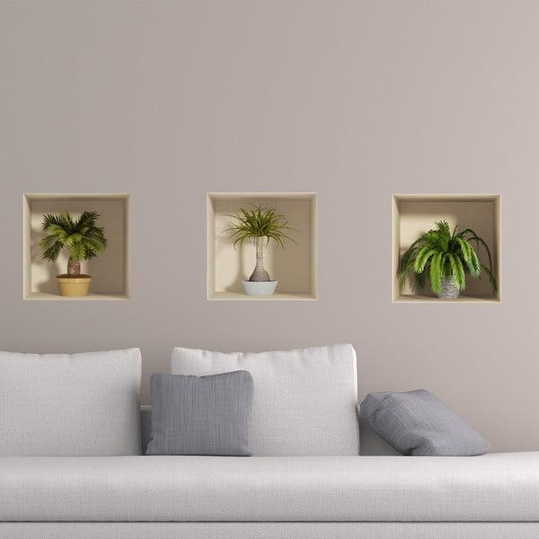 Sada 3 samolepiek s 3D efektom Ambiance Palms