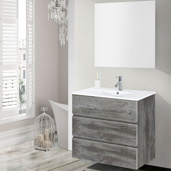 Kúpeľňová skrinka s umývadlom a zrkadlom Nayade, vintage dekor, 70 cm