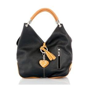 Čierna kožená kabelka s detailmi v koňakovohnedej farbe Glorious Black Amy