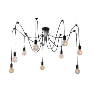 Čierne stropné svietidlo s 9 žiarovkami Filament Style Spider Lamp