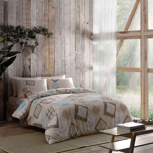 Obliečky s plachtou Brown Squares, 200x220 cm