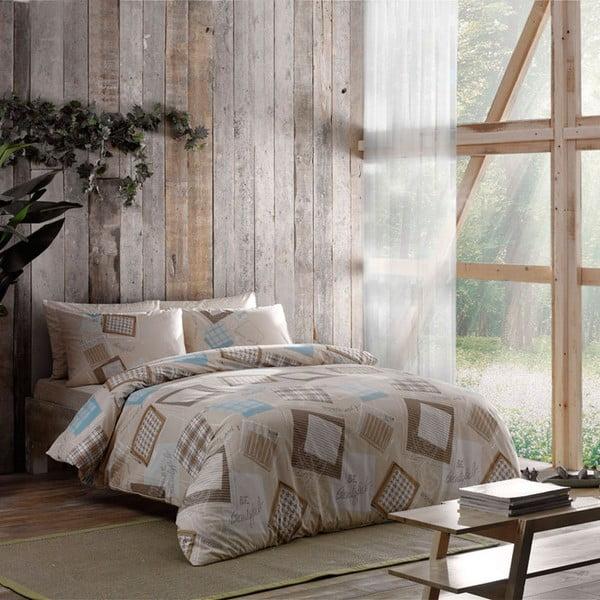 Obliečky s plachtou Brown Squares, 160x220 cm