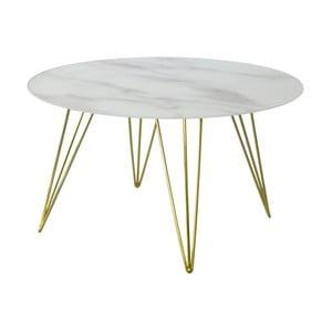 Mramorový odkladací stolík s podnožou v dekore mosadze RGE Sevilla